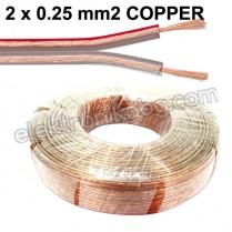 Силиконов кабел за тонколони и говорители 2 x 0.25mm2 - меден