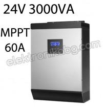 Хибриден соларен инвертор 24V 2400W MPPT 60A