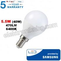 LED Крушка SAMSUNG чип 5.5W Е14 P45 470LM Бяла Светлина