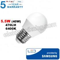 Лед крушка Samsung чип 5,5W E27 G45 470LM 6400K