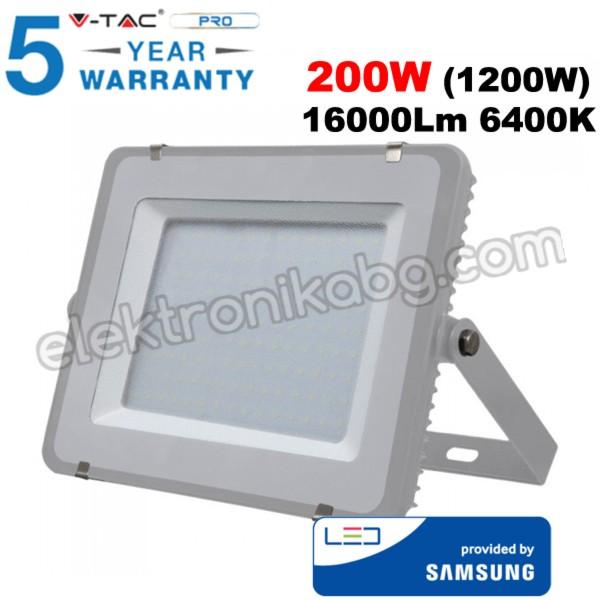 200W Ппрожектор SMD Samsung чип сиво тяло 16000LM 6400К