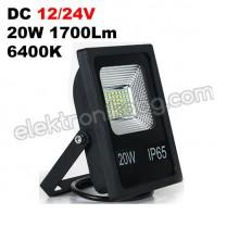 DC 12/24V 20W LED прожектор 1700LM 6400K черно тяло