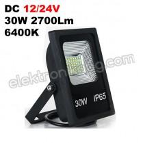 DC 12/24V 30W LED прожектор 2700LM 6400K черно тяло