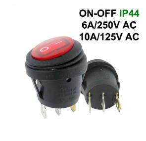 Водоустойчив прекъсвач кръгъл KCD1 ON-OFF 6A 250VAC
