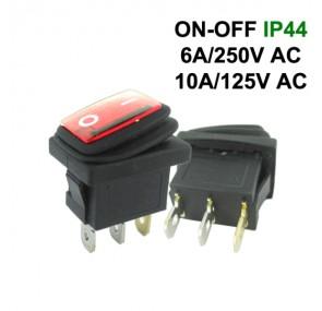 Водоустойчив прекъсвач правоъгълен KCD1 ON-OFF 6A 250VAC